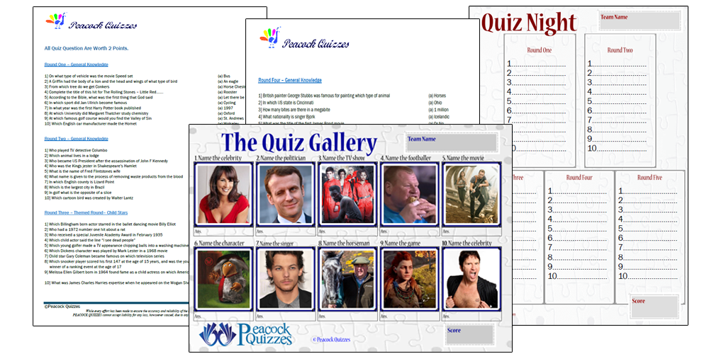 Peacock Quizzes - Single Quiz Pack